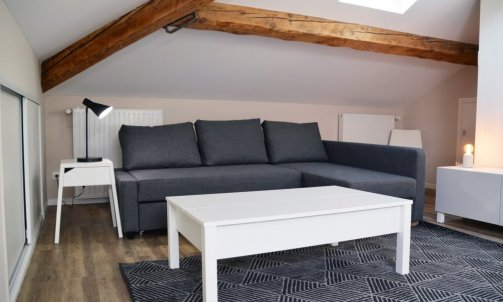 Sous les combles, un studio meublé baigné de lumière se dévoile. Cuisine LAPEYRE, mobilier IKEA et luminaires LEROY MERLIN.