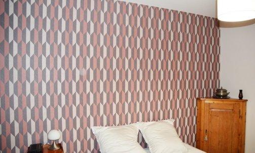 Effet de matière pour l'une des chambre avec le papier peint Focus, ARTE. Papier peint, ref. 26522, Focus, ARTE
